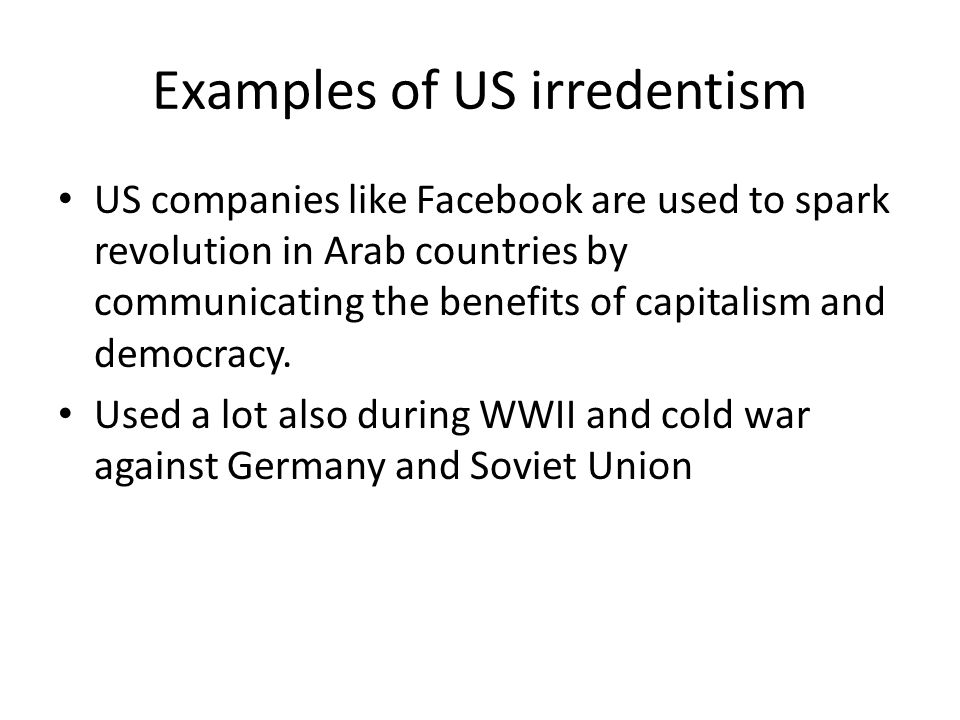 Examples of US irredentism