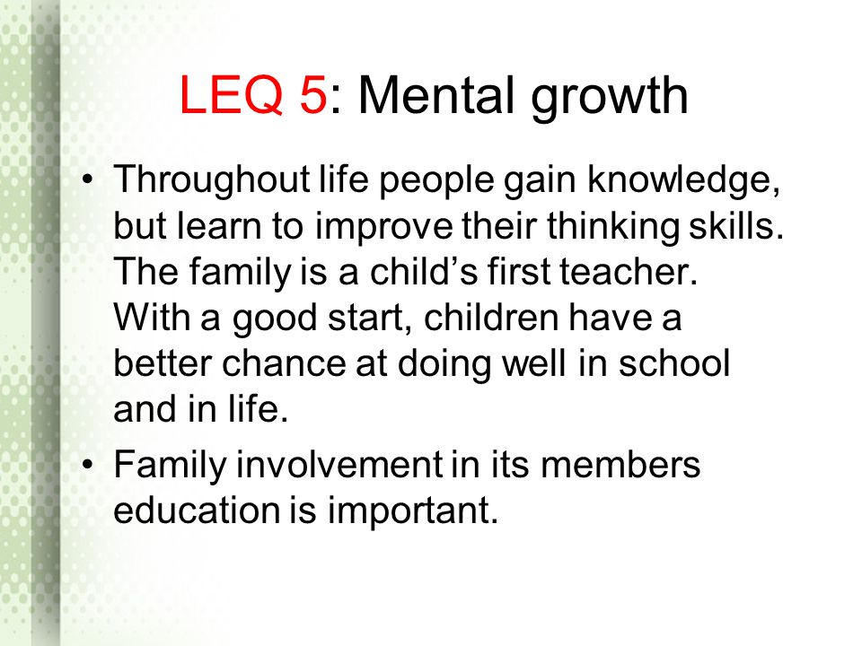 LEQ 5: Mental growth