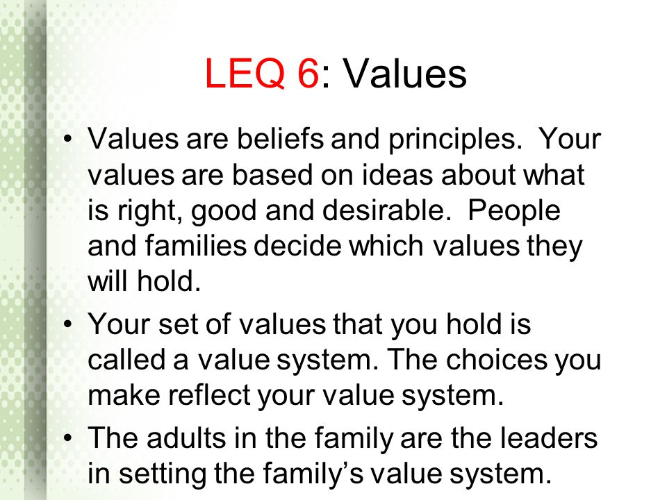 LEQ 6: Values