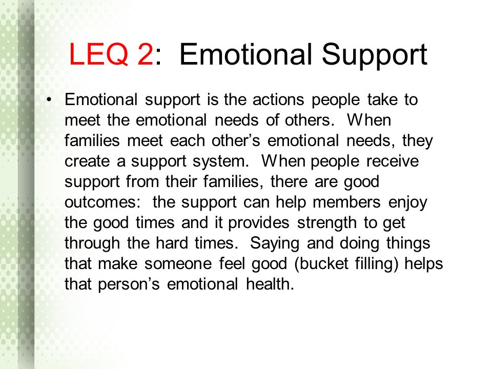 LEQ 2: Emotional Support