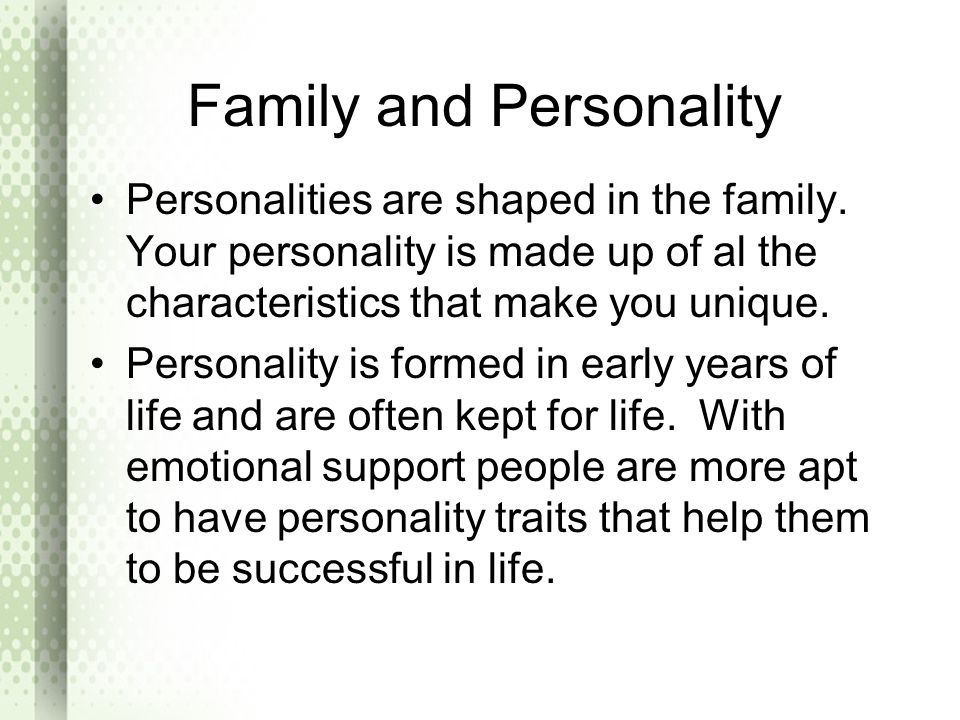Family and Personality
