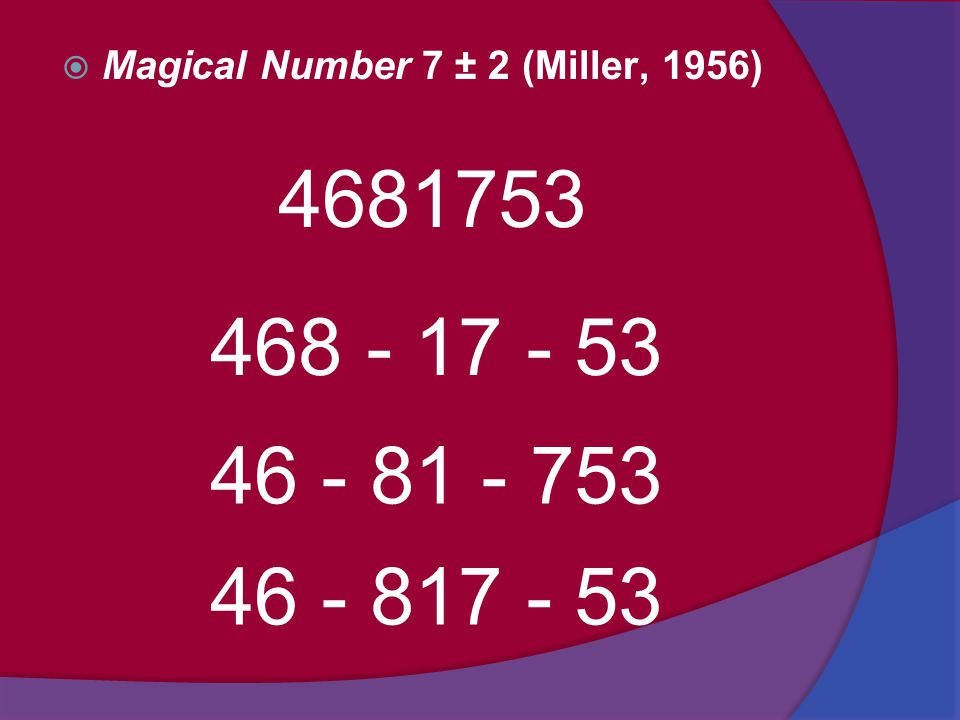 Magical Number 7 ± 2 (Miller, 1956)