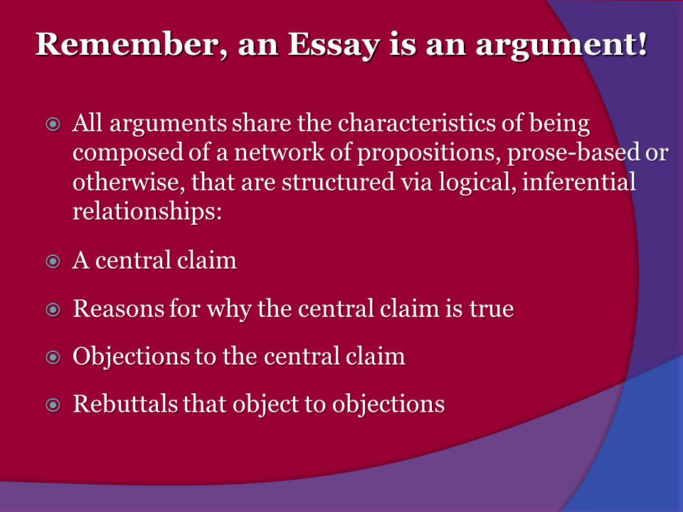 Remember, an Essay is an argument!