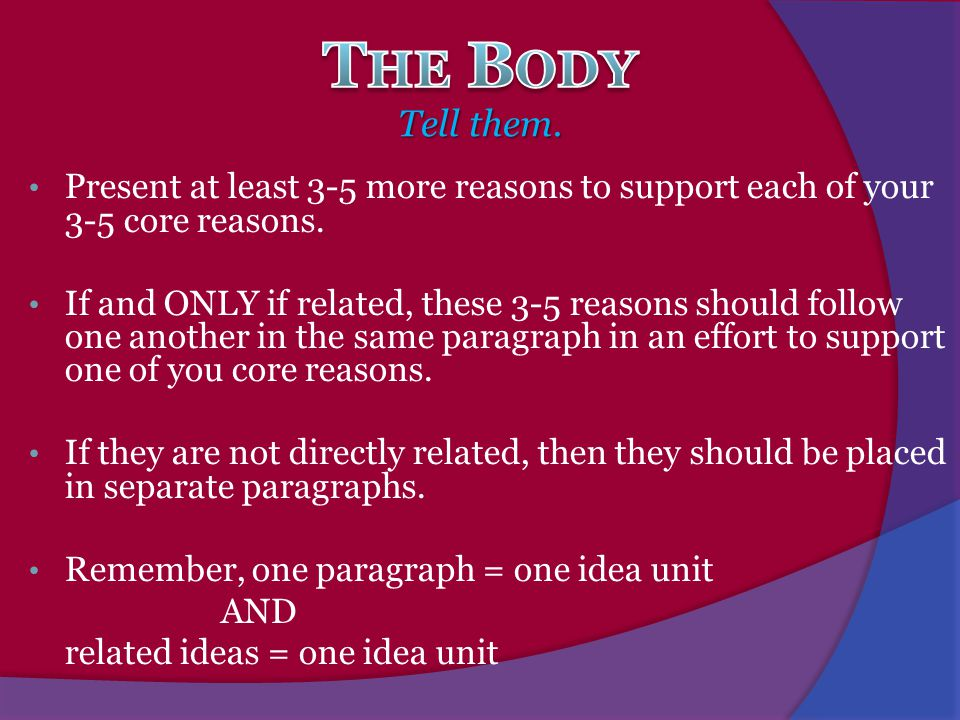 The Body Tell them. Present at least 3-5 more reasons to support each of your 3-5 core reasons.
