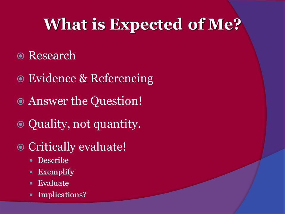 What is Expected of Me Research Evidence & Referencing