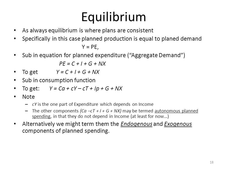 Equilibrium As always equilibrium is where plans are consistent