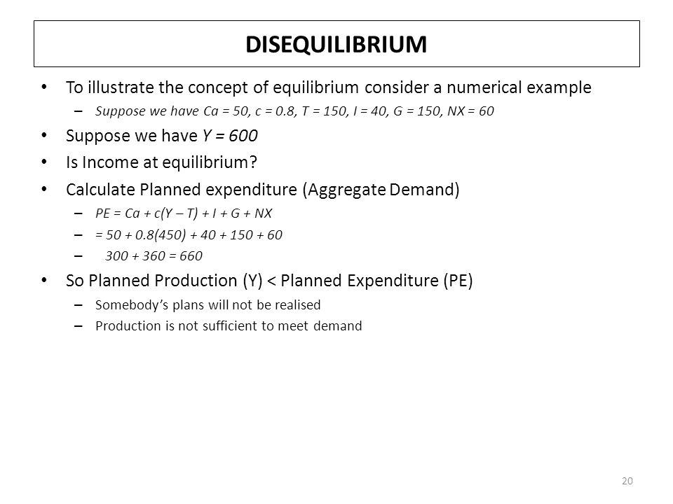 DISEQUILIBRIUM To illustrate the concept of equilibrium consider a numerical example.