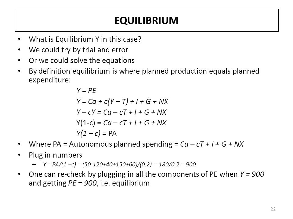 EQUILIBRIUM What is Equilibrium Y in this case