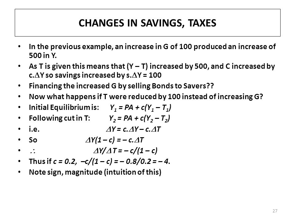 CHANGES IN SAVINGS, TAXES