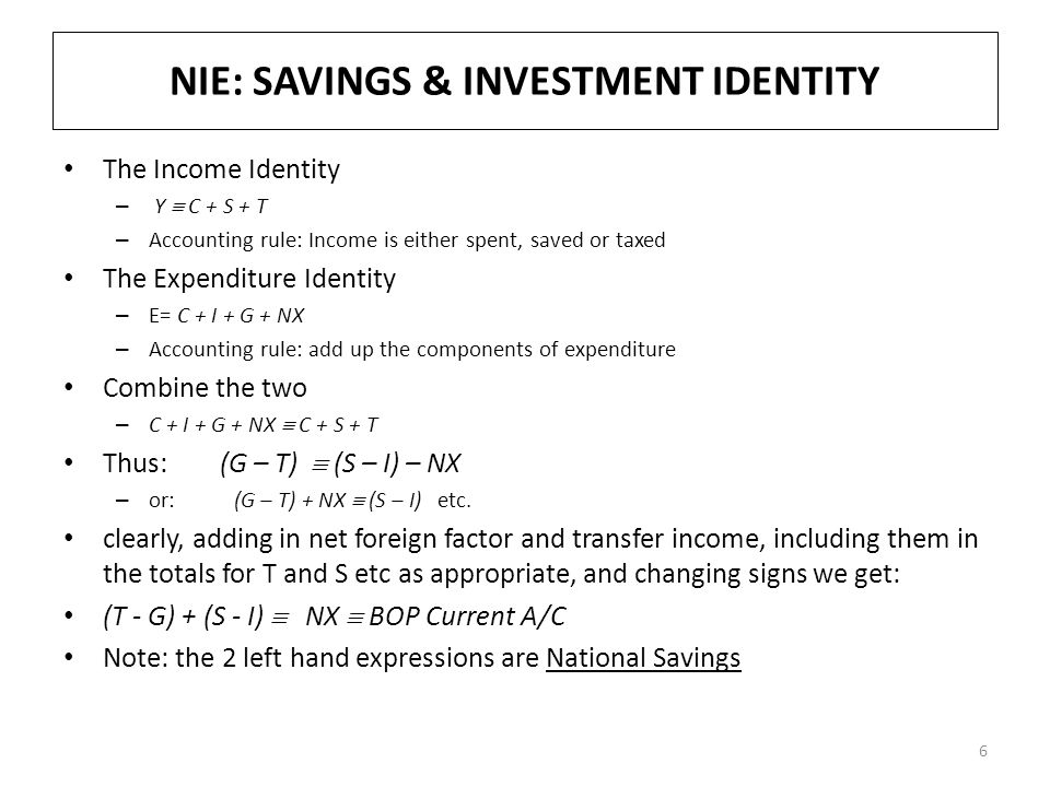 NIE: SAVINGS & INVESTMENT IDENTITY