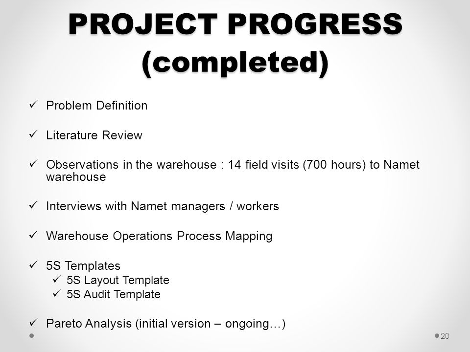 PROJECT PROGRESS (completed)