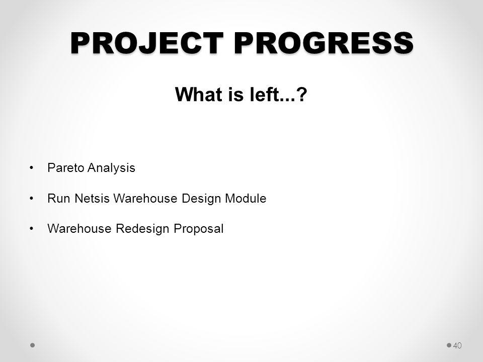 PROJECT PROGRESS What is left... Pareto Analysis