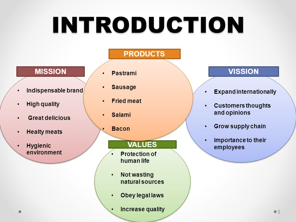 INTRODUCTION PRODUCTS MISSION VISSION VALUES Pastrami Sausage
