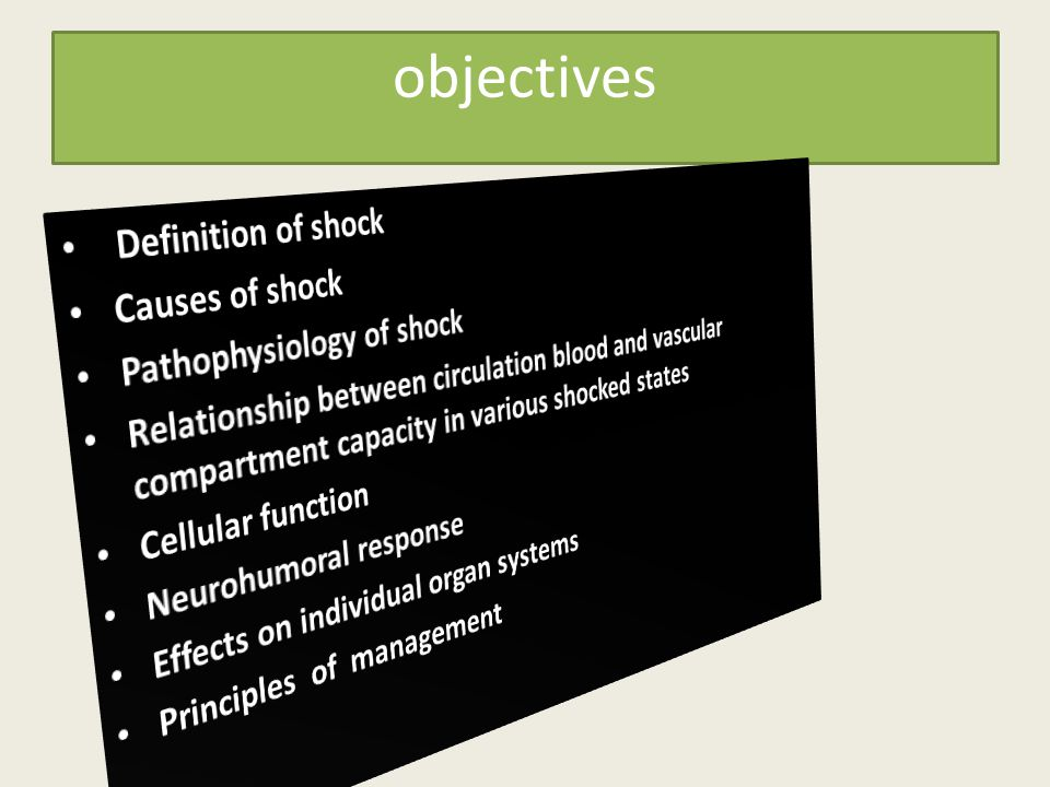 objectives Definition of shock Causes of shock