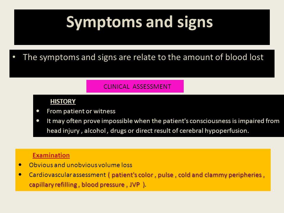 Symptoms and signs. The symptoms and signs are relate to the amount of blood lost: CLINICAL ASSESSMENT.
