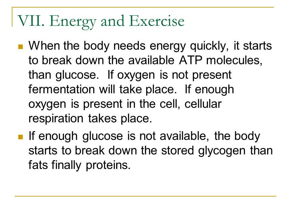 VII. Energy and Exercise