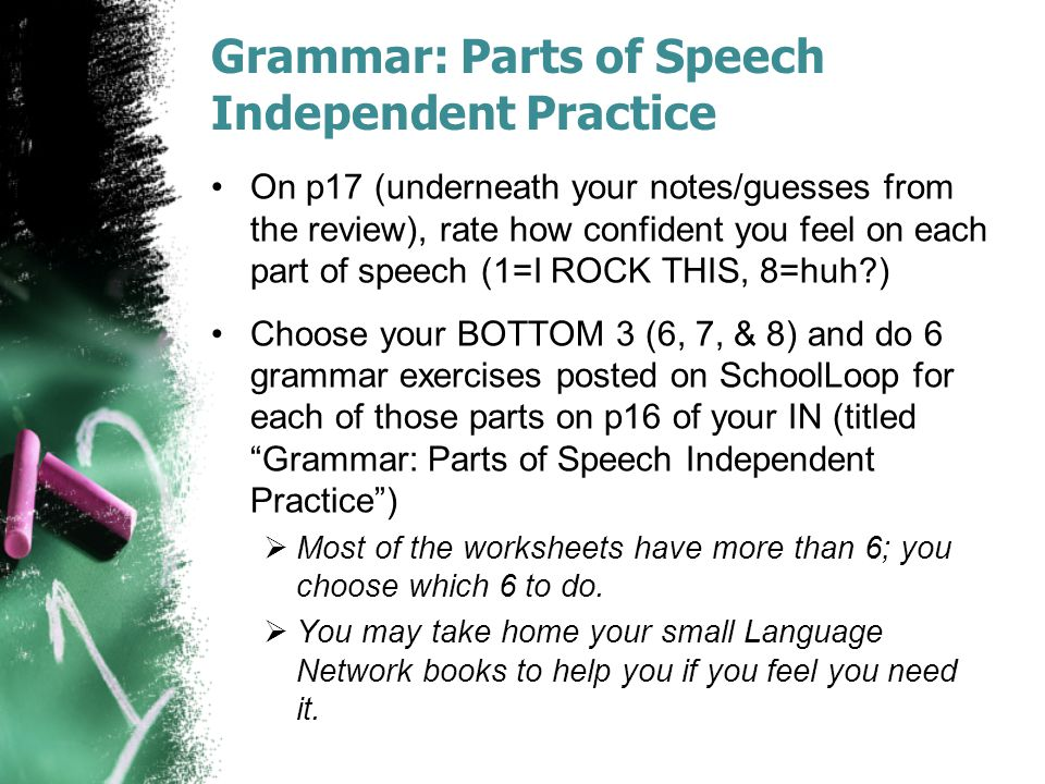 Grammar: Parts of Speech Independent Practice