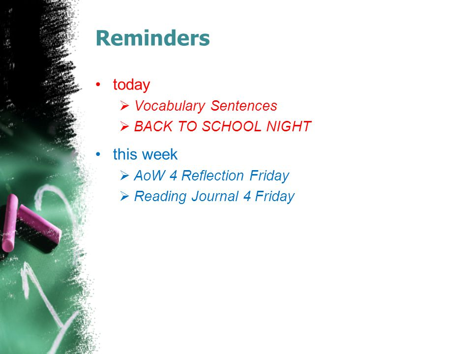 Reminders today this week Vocabulary Sentences BACK TO SCHOOL NIGHT