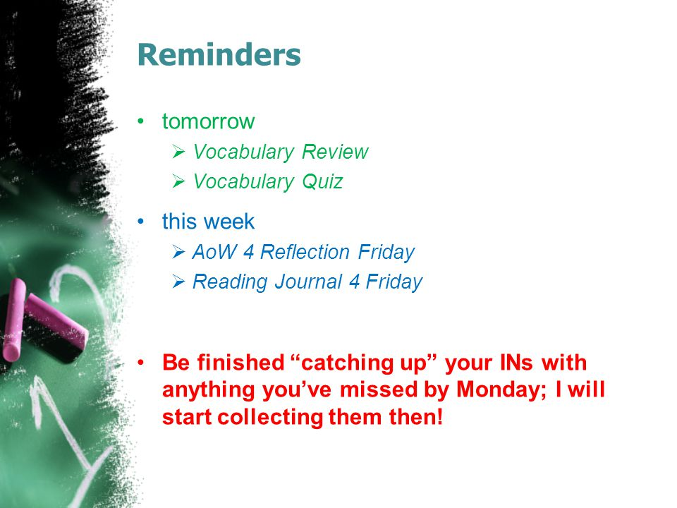 Reminders tomorrow this week
