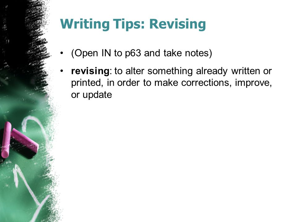 Writing Tips: Revising