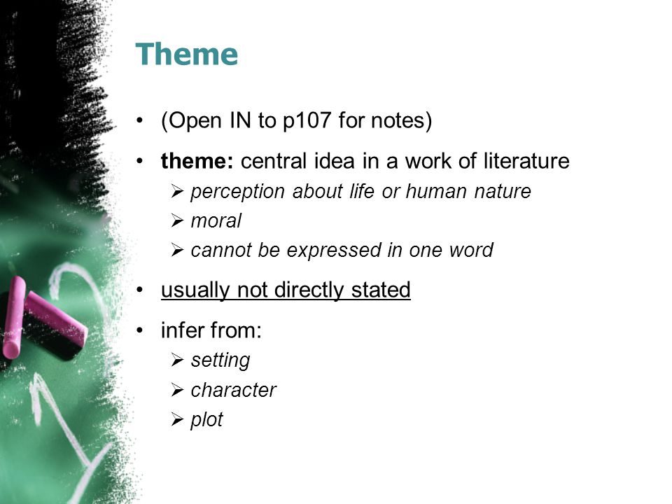 Theme (Open IN to p107 for notes)