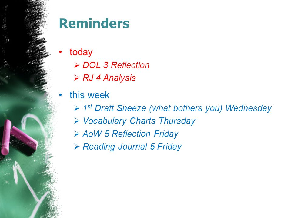 Reminders today this week DOL 3 Reflection RJ 4 Analysis