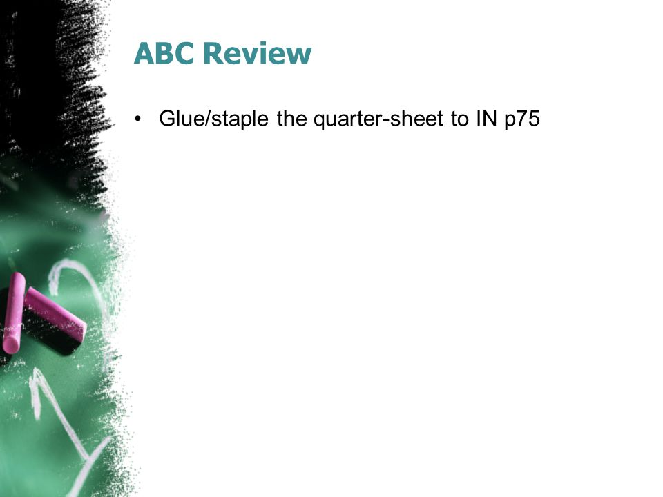 ABC Review Glue/staple the quarter-sheet to IN p75