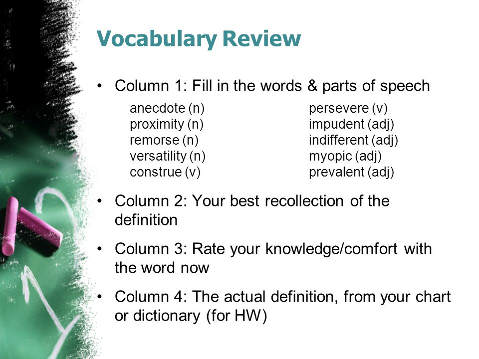 Vocabulary Review Column 1: Fill in the words & parts of speech