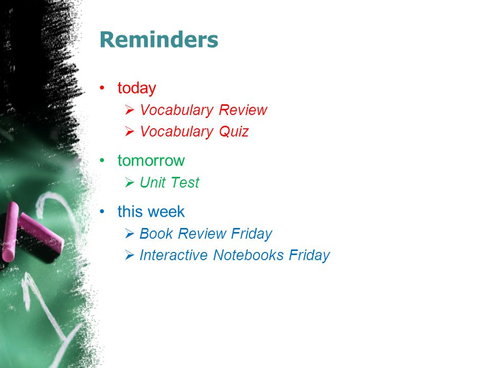 Reminders today tomorrow this week Vocabulary Review Vocabulary Quiz