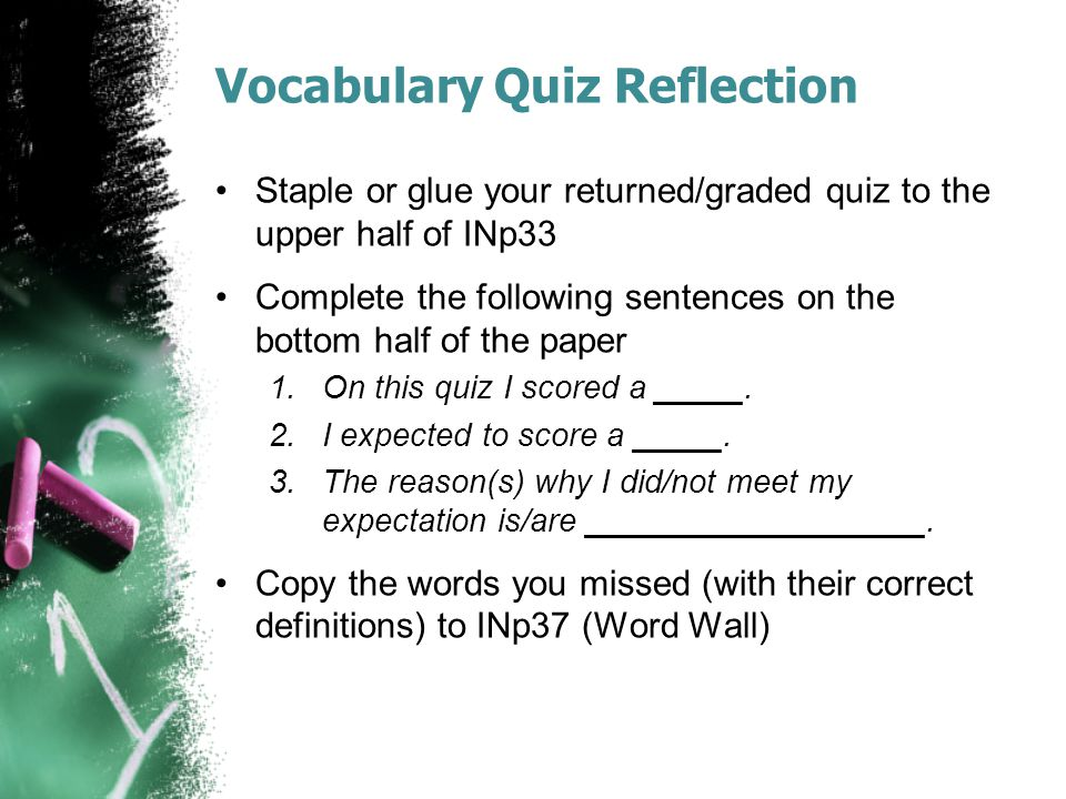 Vocabulary Quiz Reflection