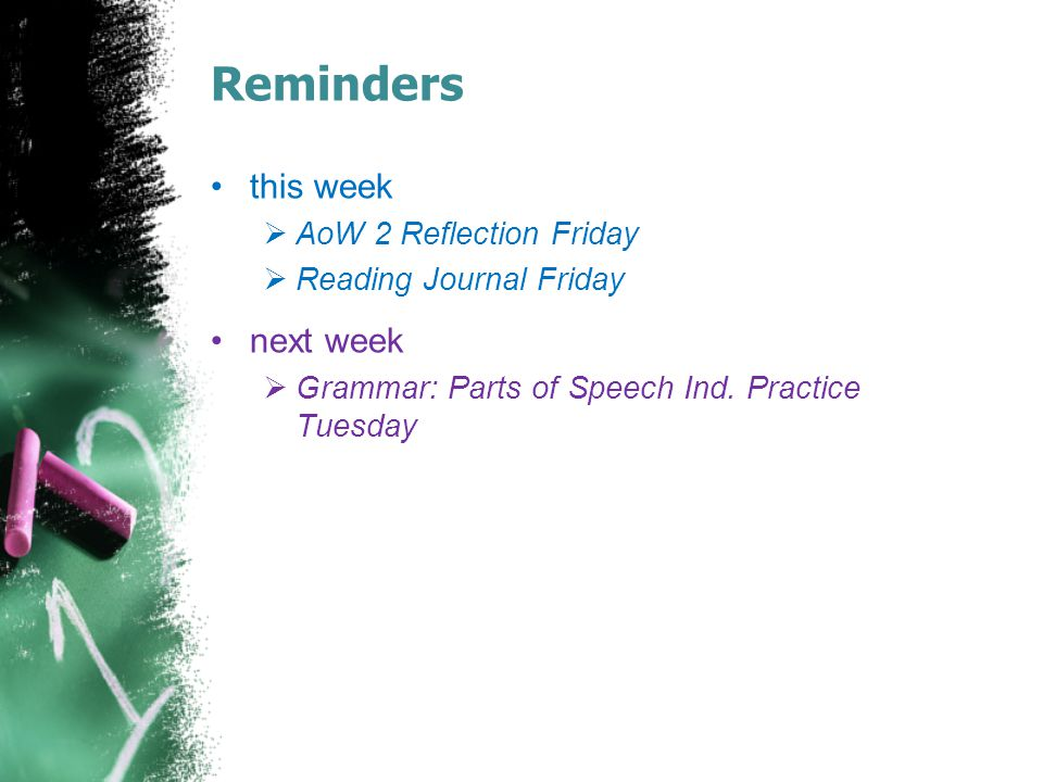 Reminders this week next week AoW 2 Reflection Friday