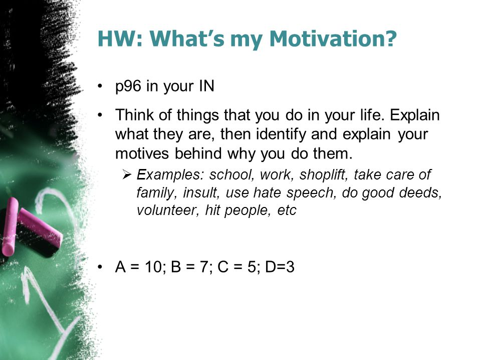 HW: What's my Motivation
