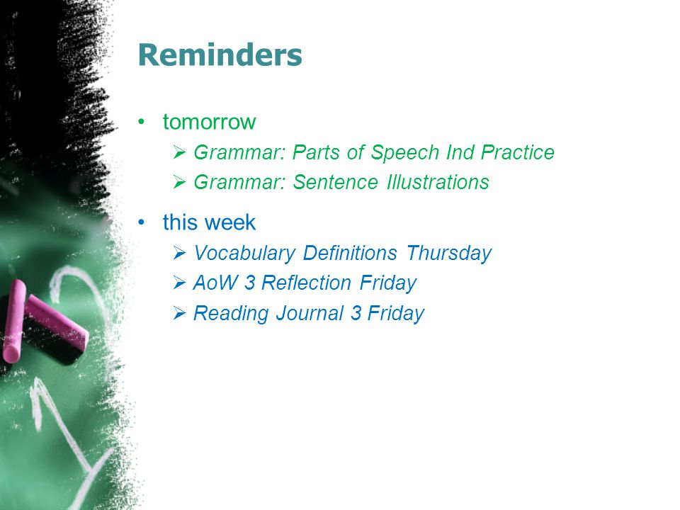 Reminders tomorrow this week Grammar: Parts of Speech Ind Practice
