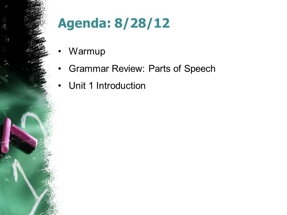Agenda: 8/28/12 Warmup Grammar Review: Parts of Speech