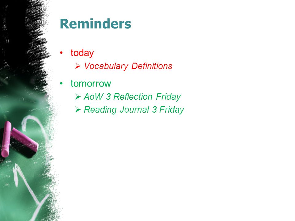Reminders today tomorrow Vocabulary Definitions