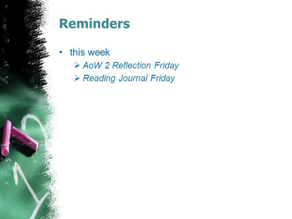 Reminders this week AoW 2 Reflection Friday Reading Journal Friday