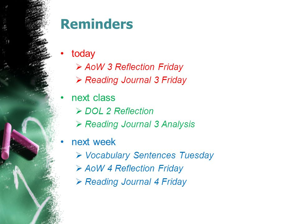 Reminders today next class next week AoW 3 Reflection Friday