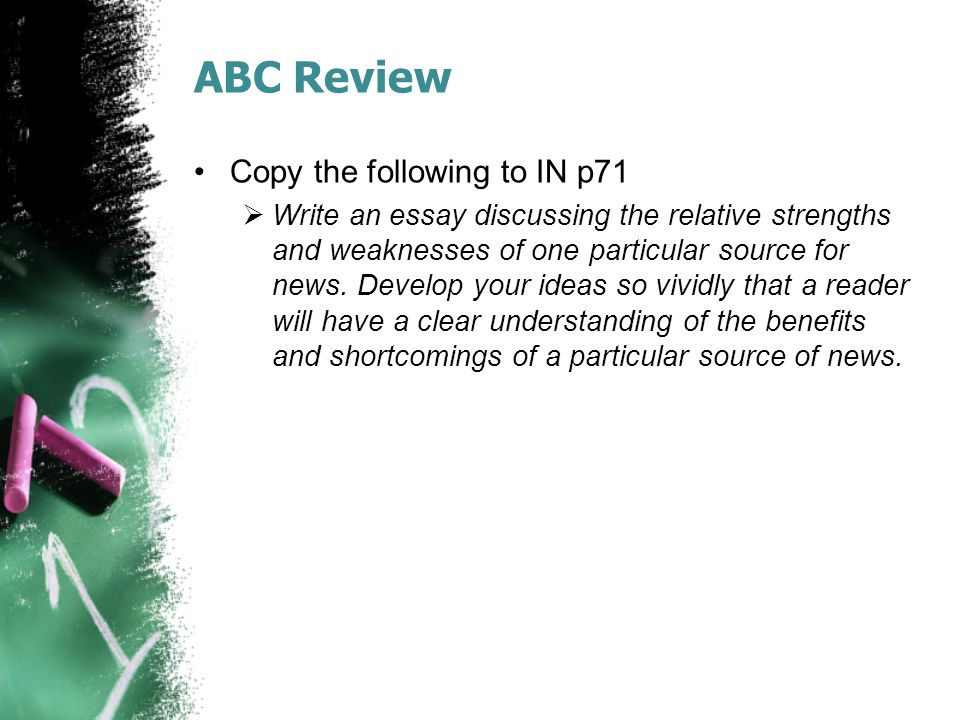ABC Review Copy the following to IN p71