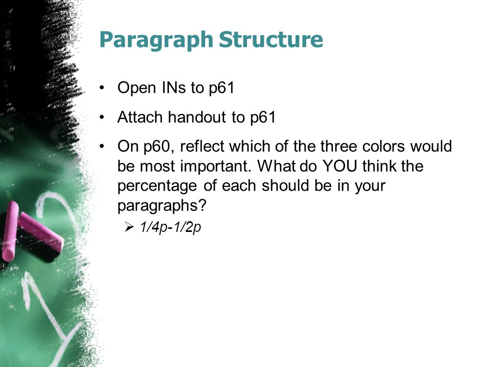 Paragraph Structure Open INs to p61 Attach handout to p61