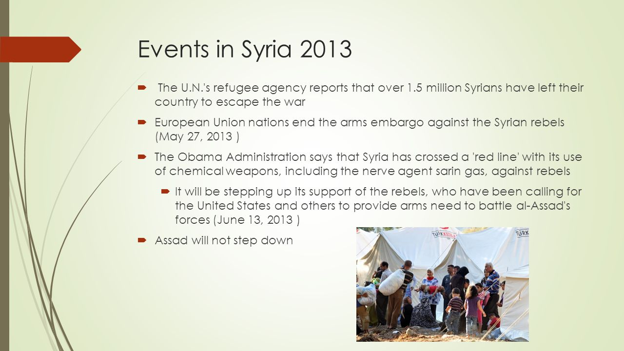 Events in Syria 2013 The U.N. s refugee agency reports that over 1.5 million Syrians have left their country to escape the war.
