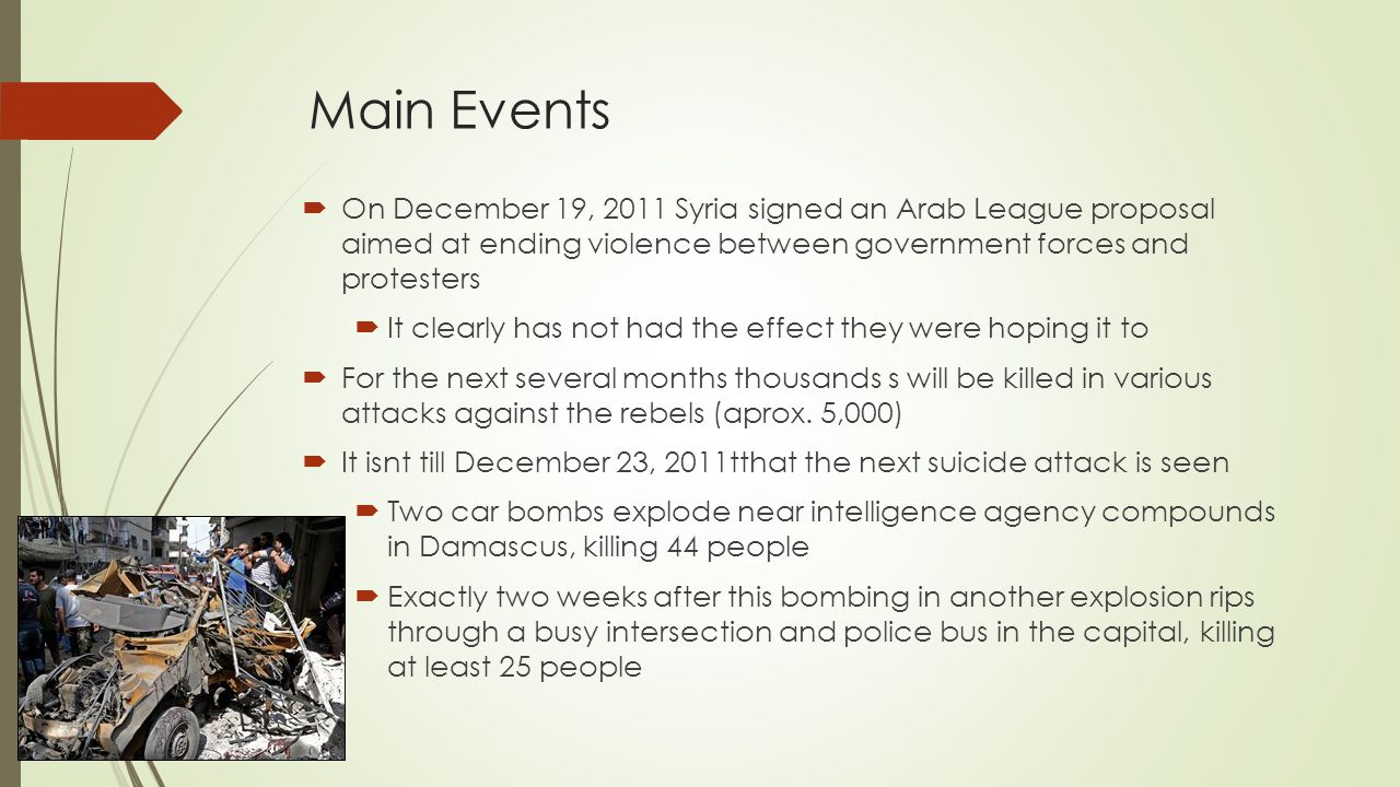 Main Events On December 19, 2011 Syria signed an Arab League proposal aimed at ending violence between government forces and protesters.