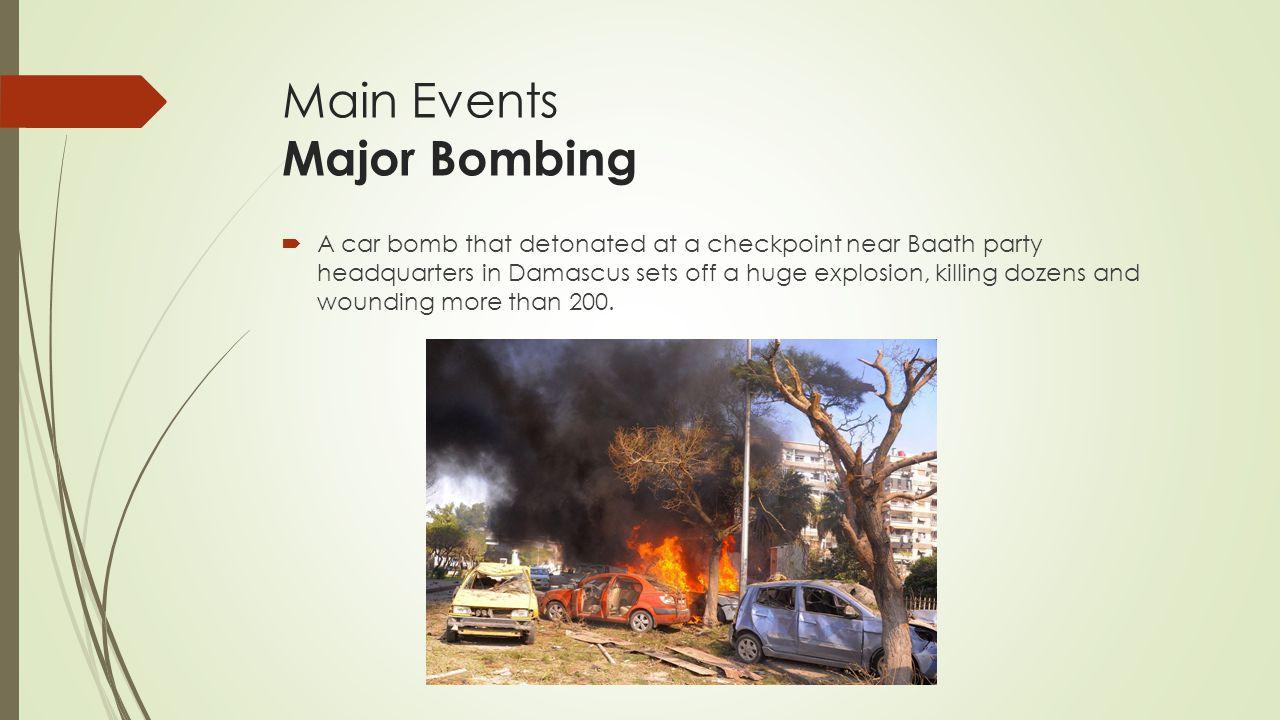 Main Events Major Bombing