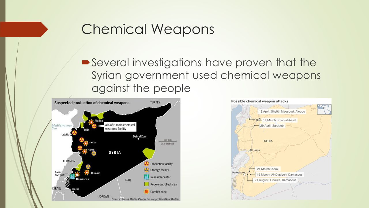 Chemical Weapons Several investigations have proven that the Syrian government used chemical weapons against the people.