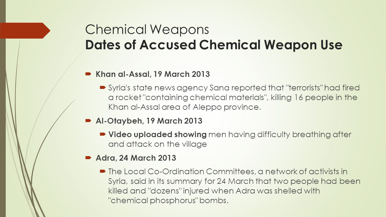 Chemical Weapons Dates of Accused Chemical Weapon Use
