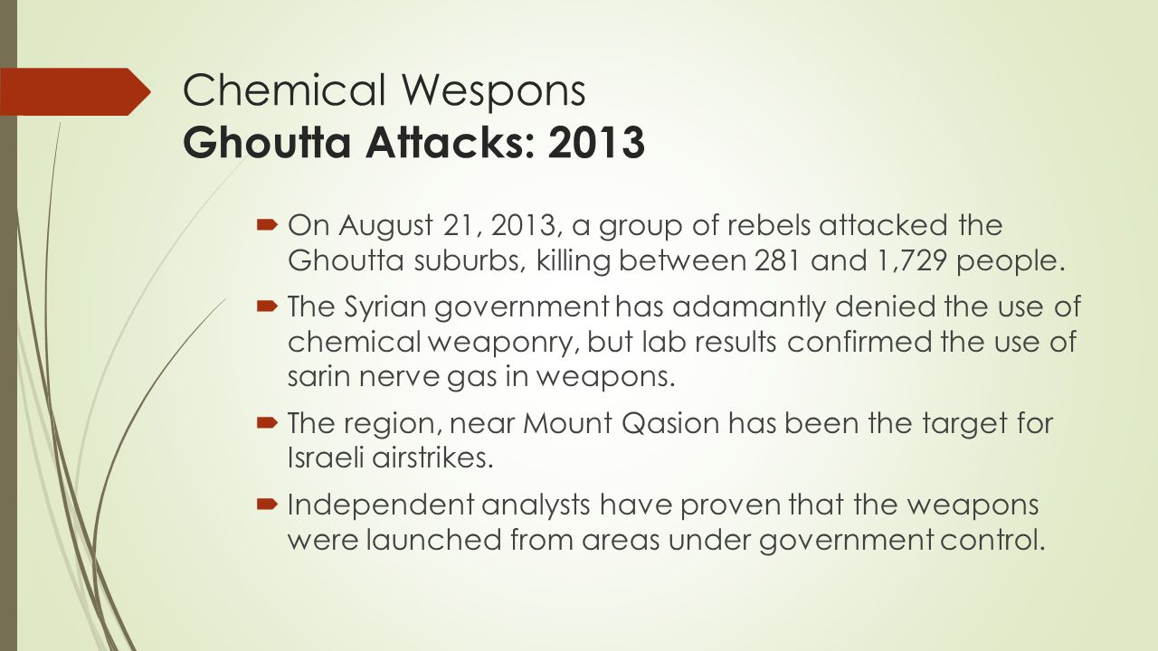 Chemical Wespons Ghoutta Attacks: 2013