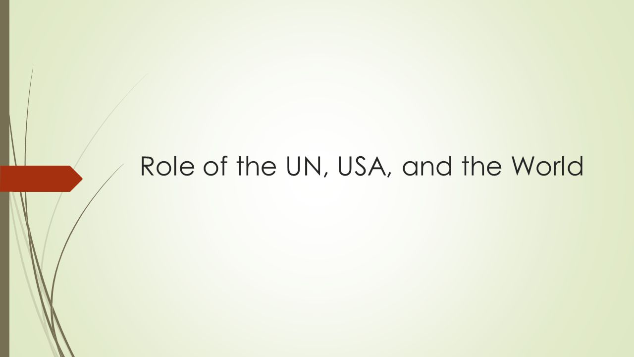 Role of the UN, USA, and the World