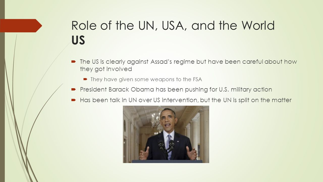 Role of the UN, USA, and the World US