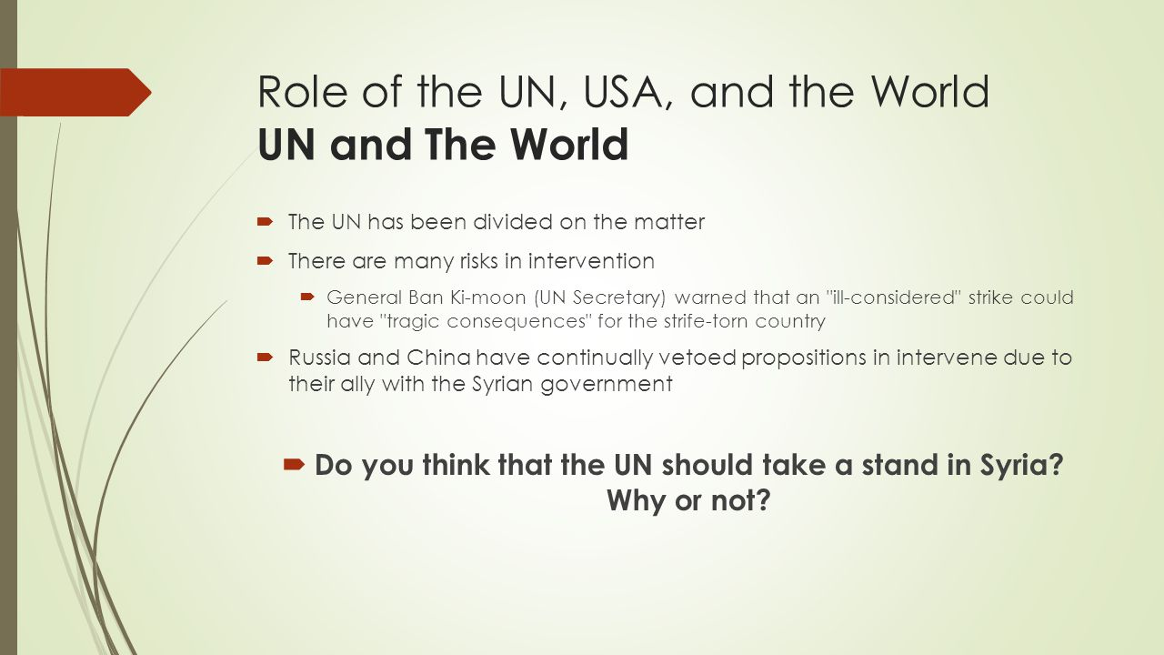 Role of the UN, USA, and the World UN and The World