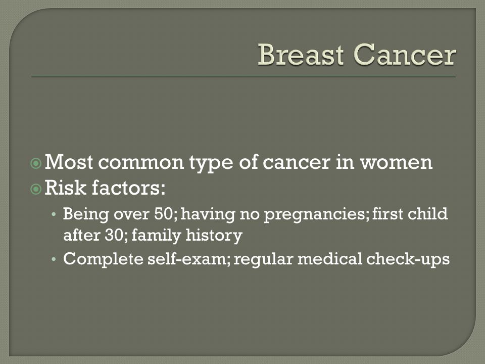 Breast Cancer Most common type of cancer in women Risk factors:
