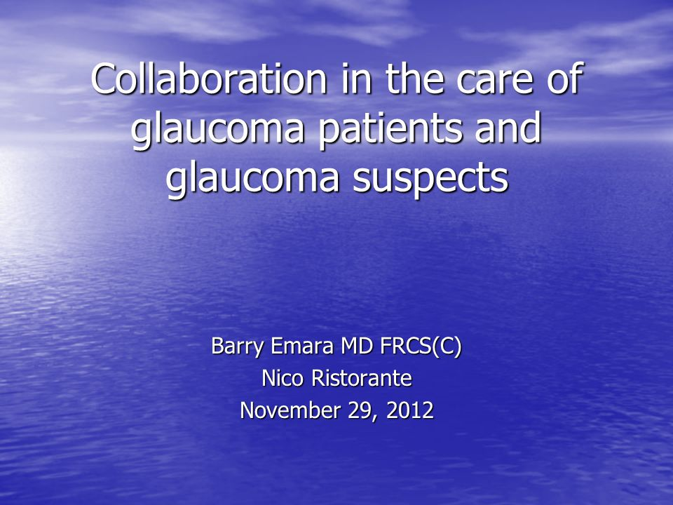 Collaboration in the care of glaucoma patients and glaucoma suspects